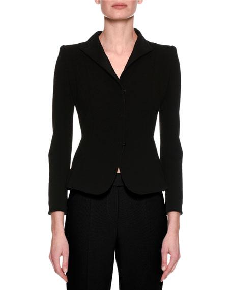 Ottoman Rib Corset-Back Blazer, Black