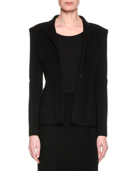 Giorgio Armani Ottoman Ribbed One-Button Jacket, Black