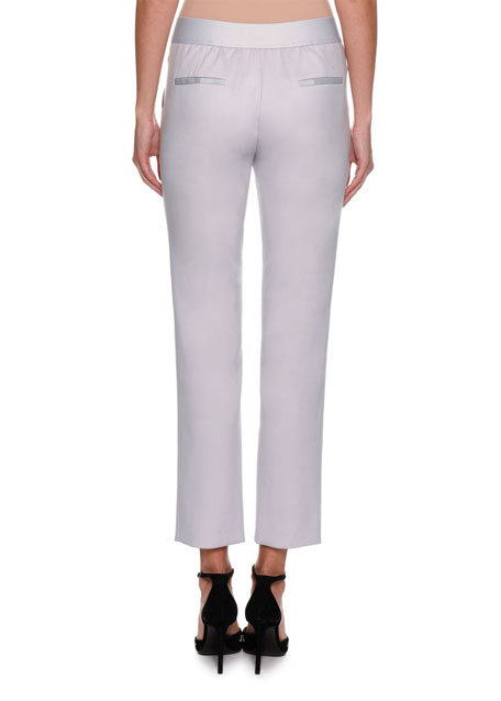 Stretch-Wool Slim Cropped Pants, Light Gray