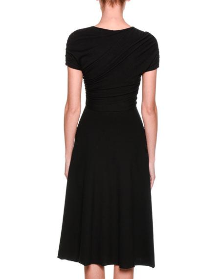 Cap-Sleeve Ruched Midi Dress, Black