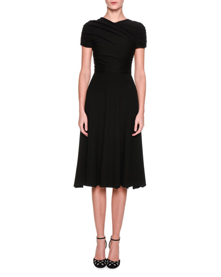 Giorgio Armani Cap-Sleeve Ruched Midi Dress, Black