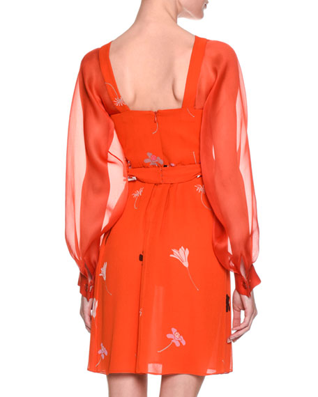 Floral-Print Silk Georgette Long-Sleeve Dress, Orange