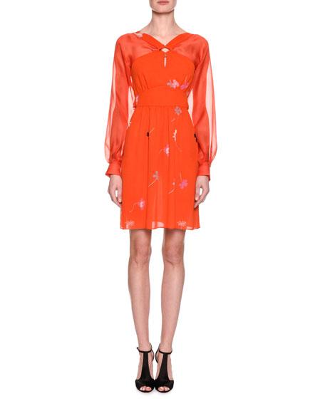 Giorgio Armani Floral-Print Silk Georgette Long-Sleeve Dress,