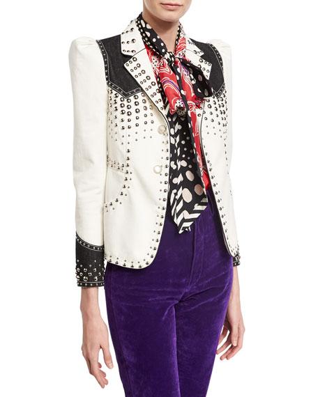 Marc Jacobs Studded Denim Western Blazer, White and