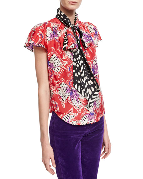 Marc Jacobs Spotted Lily Silk Tie-Neck Top, Red