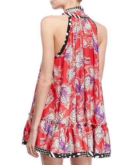 Iris Mixed-Print Sleeveless Tie-Neck Flounce Minidress, Red