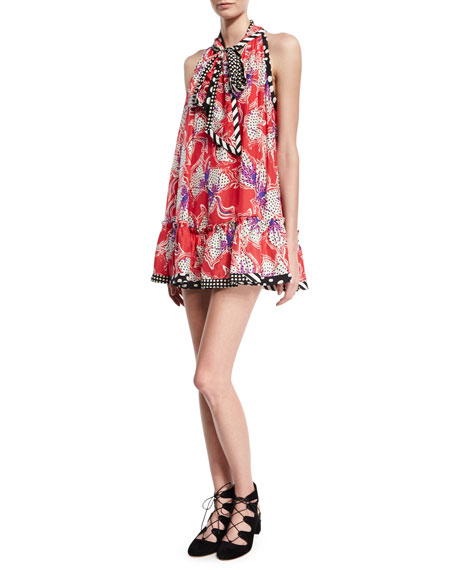 Marc Jacobs Iris Mixed-Print Sleeveless Tie-Neck Flounce