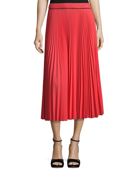 Marc Jacobs Pleated Crêpe de Chine Midi Skirt,