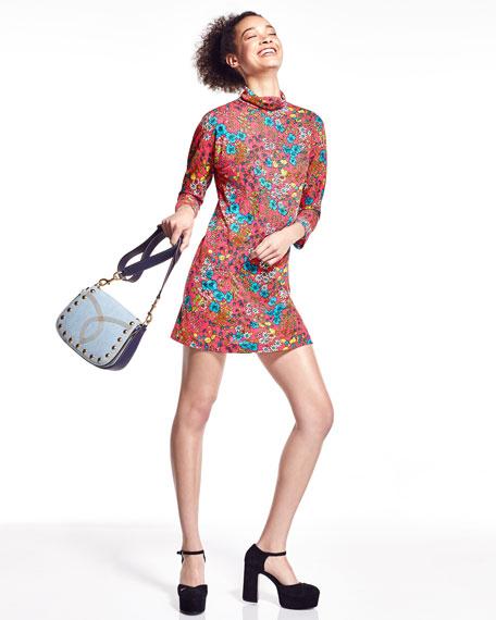 Brite Blossom Mock-Neck Shift Dress, Pink