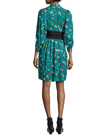 Painted Flowers Belted Silk Jacquard Shirtdress, Blue