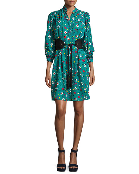 Marc Jacobs Painted Flowers Belted Silk Jacquard Shirtdress,