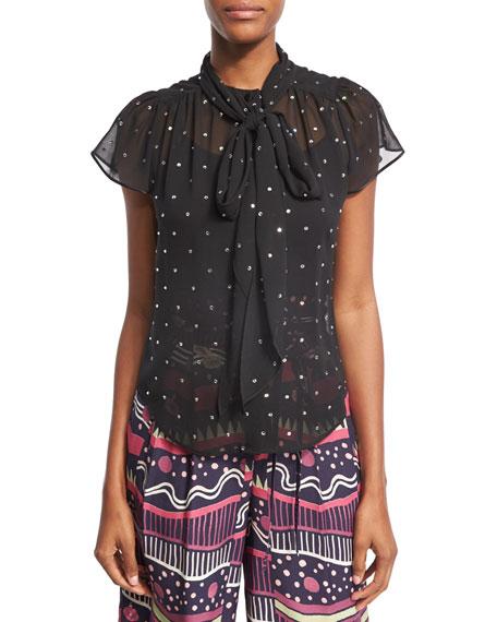 Marc Jacobs Crystal-Embellished Flutter-Sleeve Shirt, Black and