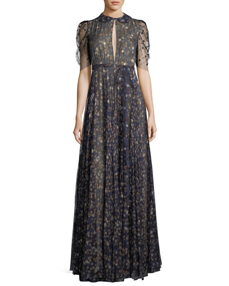 Floral-Print Silk Keyhole Gown