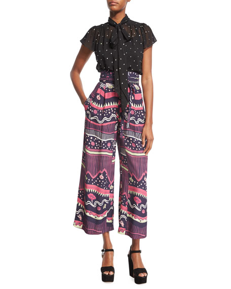 Marc Jacobs Morning Glories Tie-Waist Palazzo Pants, Navy