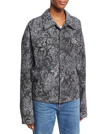 Oversized Lace-Print Denim Bomber Jacket, Black