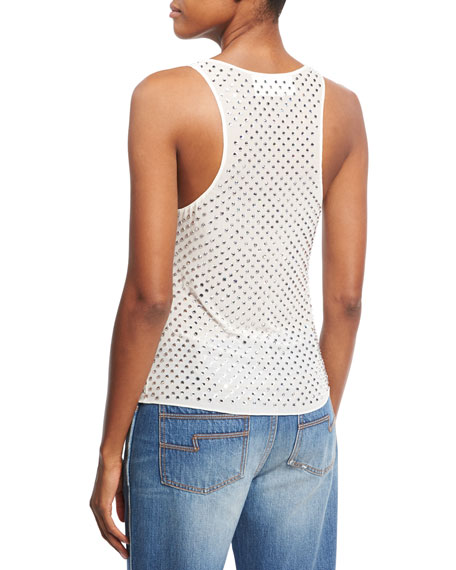 Rhinestone Embellished Tank Top, White
