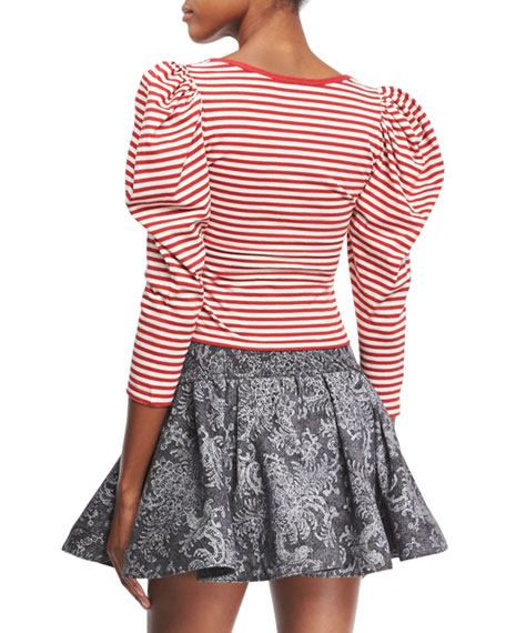 Puff-Sleeve U-Neck Striped Top, Red