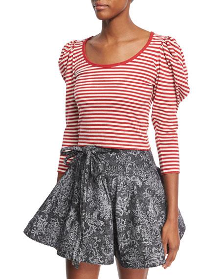Puff-Sleeve U-Neck Striped Top, Red