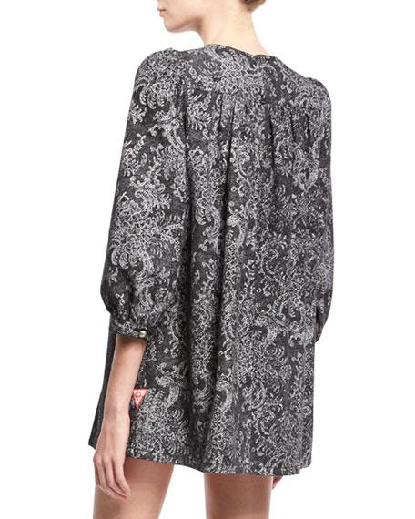 Lace-Print Babydoll Dress, Black
