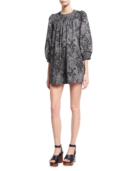 Marc Jacobs Lace-Print Babydoll Dress, Black