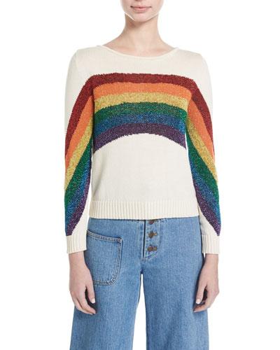 Lurex® Rainbow Cotton Sweater, White