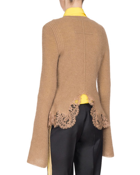 Ribbed Lace-Hem Bell-Sleeve Sweater