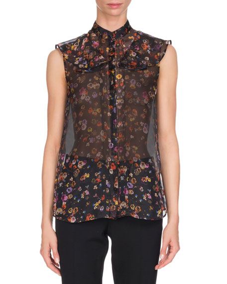Givenchy Pansy-Print Organza Blouse, Multi Pattern and Matching