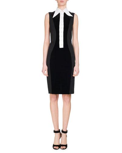 Velvet Jersey Dress w/Contrast Placket, White