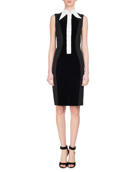 Givenchy Velvet Jersey Dress w/Contrast Placket, White