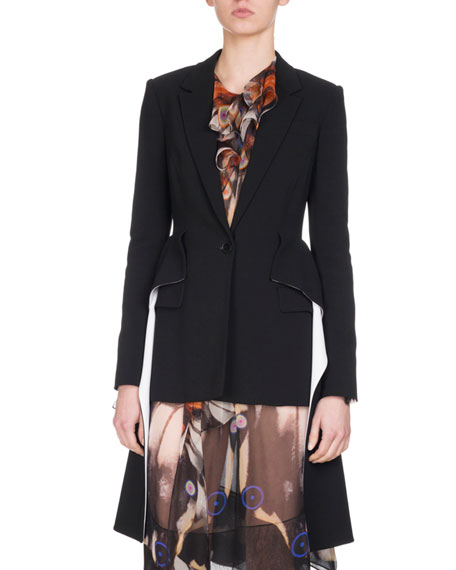 Wool Blazer with Cascading Peplum