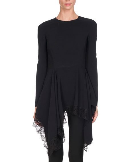 Givenchy Long-Sleeve Cady Handkerchief Top, Black