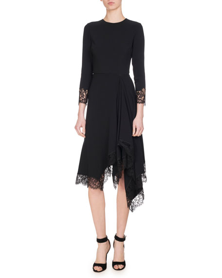 ASYMMETRIC CHANTILLY LACE-TRIMMED CADY DRESS
