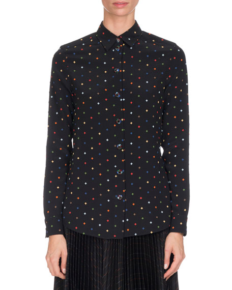 Givenchy Cross-Print Silk Blouse, Multi Pattern and Matching