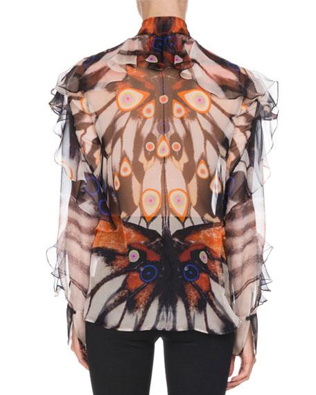 Butterfly-Print Chiffon Blouse, Multi