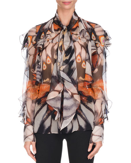 Givenchy Butterfly-Print Chiffon Blouse, Multi
