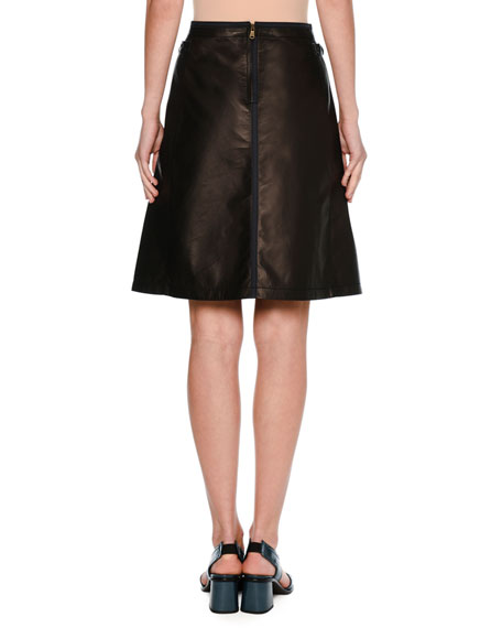Leather A-Line Miniskirt with Taping, Black