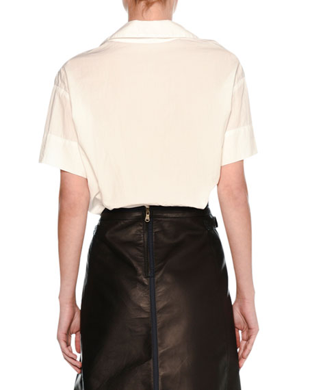 Ruched-Sleeve Airy Blouson Top, White