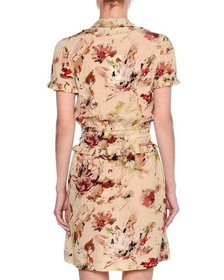 Cosmic Floral Short-Sleeve Minidress, Multicolor