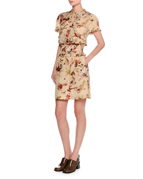 Tomas Maier Cosmic Floral Short-Sleeve Minidress, Multicolor