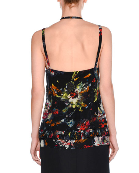 Strappy Cosmic Floral Tank Top, Blue