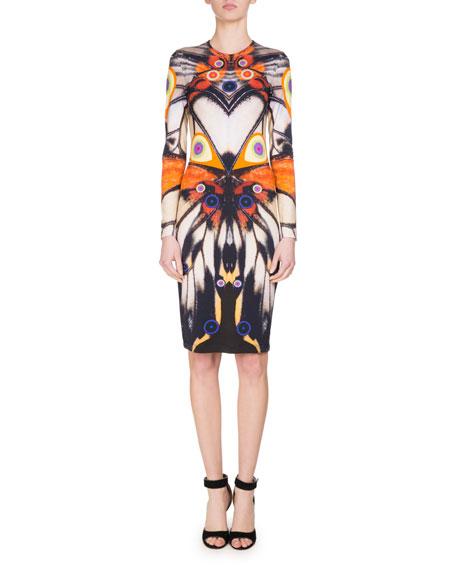 Long-Sleeve Butterfly-Print Jersey Dress, Multi