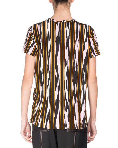 Ikat-Striped Cotton T-Shirt, Multi Pattern