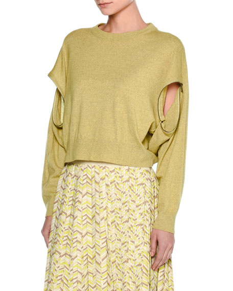 Melange Wool Zip-Sleeve Sweater, Yellow