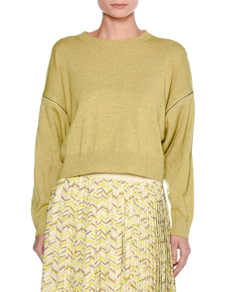Tomas Maier Mélange Wool Zip-Sleeve Sweater, Yellow