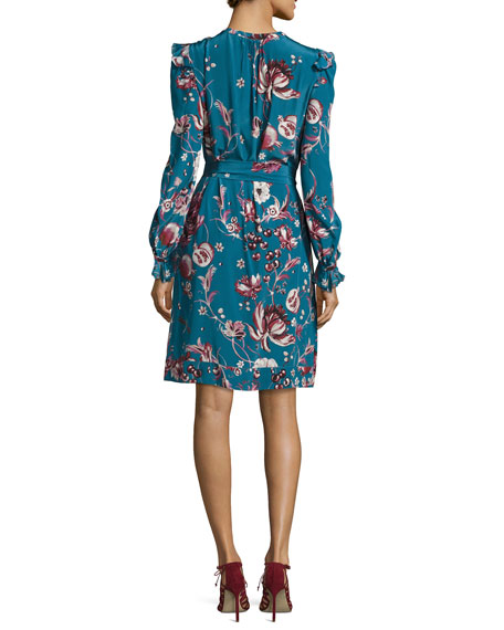 Forbidden Fruit Silk Long-Sleeve Belted Dress, Blue