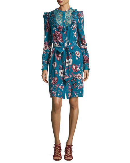 Roberto Cavalli Forbidden Fruit Silk Long-Sleeve Belted Dress,