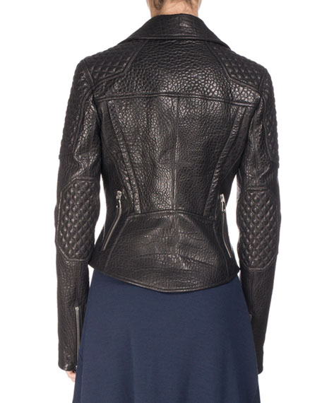Textured Leather Motorcycle Jacket, Black