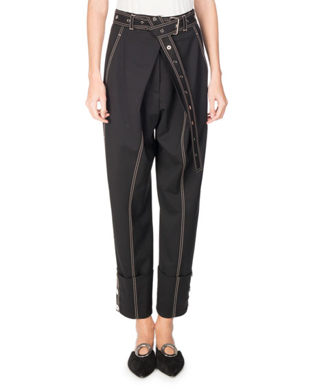 Proenza Schouler Topstitched Pleat-Front Pants, Black and