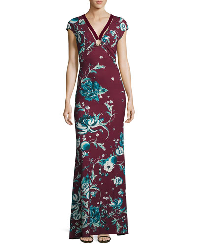 Forbidden Fruit Cap-Sleeve Gown with Velvet Ribbon, Magenta