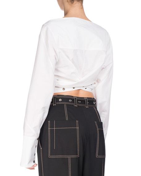 Grommet-Studded Poplin Crop Top, White